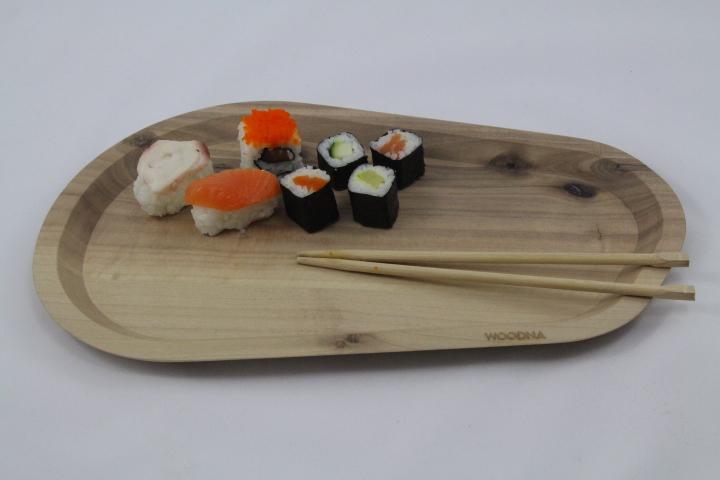 bandeja de madera para alimentos
