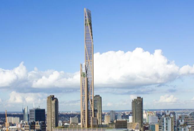 rascacielos de madera sostenible